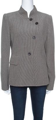 Armani Collezioni Beige and Brown Textured Wool Mandarin Collar Blazer L