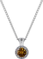 Carina Citrine 10K White Gold Halo Pendant Necklace