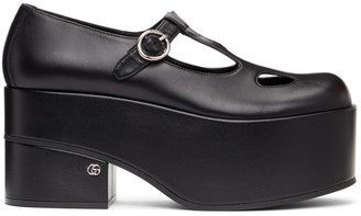 Gucci Black Mary Jane Platform Loafers