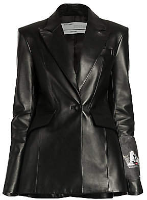 Off-White Women's Patch Sleeve Fitted Leather Jacket