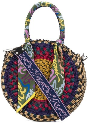 M Missoni Patterned Round Woven Tote