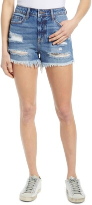 Hidden Jeans Nonstretch Distressed High Waist Denim Cutoff Shorts