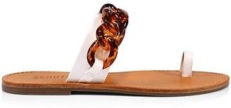 Schutz Binah Chain-Link Leather Toe-Loop Slides