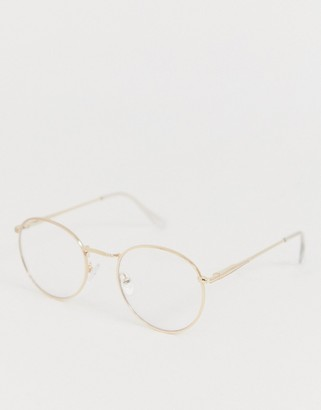 clear Asos Design ASOS DESIGN round fashion glasses in gold metal with lenses