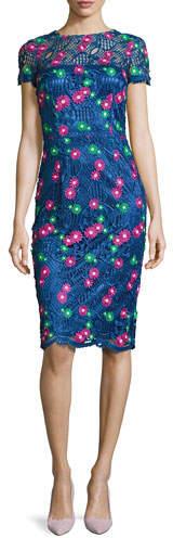 David Meister Venice Short-Sleeve Floral Lace Cocktail Dress, Blue/Multicolor