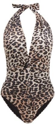 Ganni Halterneck Leopard-print Swimsuit - Womens - Leopard