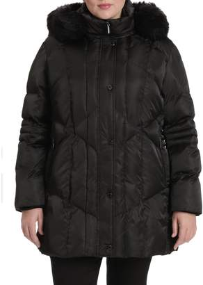 Northside Toni Plus Plus Faux Fur-Trim Diamond Quilted Coat