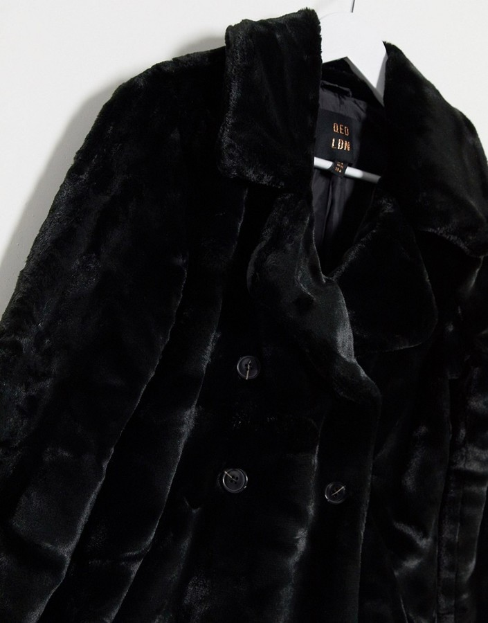 Thumbnail for your product : Qed London double breasted faux fur coat in black