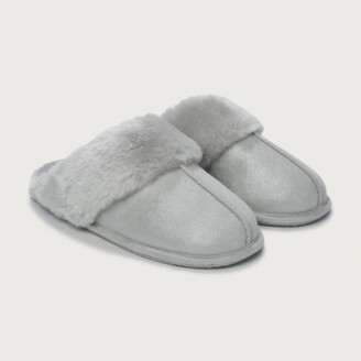 The White Company Shimmer Faux-Fur Mule Slippers, Silver, L[7/8]