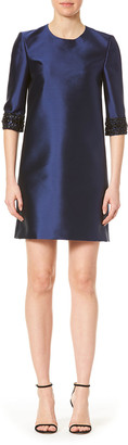 Carolina Herrera Embellished-Cuff 3/4-Sleeve Dress