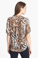 Chaus Animal Print Roll Sleeve Blouse