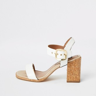 River Island White two part cork block heeled sandal