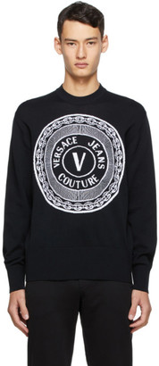 Versace Jeans Couture Black New Buttons Sweater