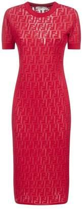 Fendi Fitted FF Logo Patterned Dress