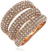 Vince Camuto Triple Bar Rose Gold Pave Ring, Size 7