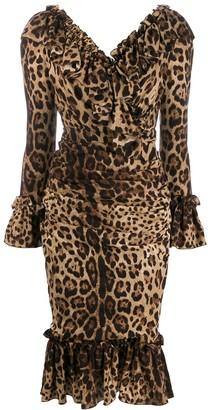 Dolce & Gabbana ruffle leopard print dress