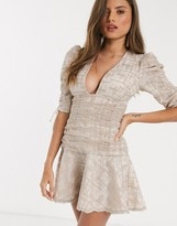 Asos Design DESIGN ruched mini dress with embroidered embellishment and peplum hem in stone