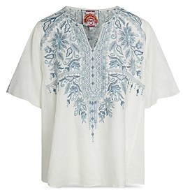 Johnny Was Maike Embroidered Linen Blouse