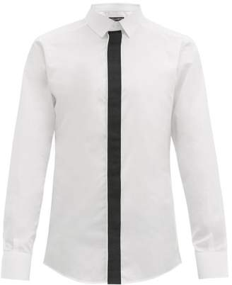 Dolce & Gabbana Logo Jacquard Placket Cotton Poplin Shirt - Mens - White