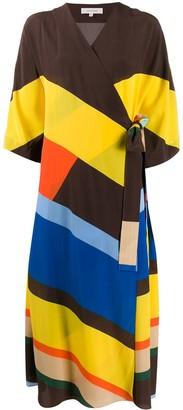 Parker Chinti & striped silk wrap dress