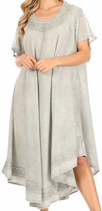 Sakkas 1931 - INES Cotton Everyday Essentials Cap Sleeve Caftan Dress Kaftan Cover Up - Navy - OS