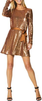 Ramy Brook Hallie Sequined Long-Sleeve Belted Dress
