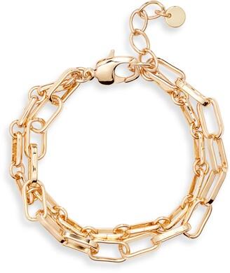 Halogen Two-Tier Mixed Chain Bracelet