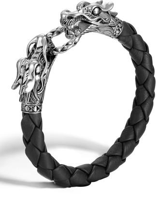 John Hardy Woven Leather & Dragon-Head Bracelet
