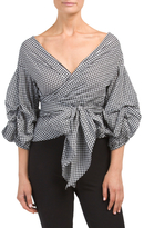 Balloon Sleeve Gingham Wrap Top