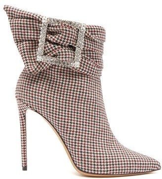 Alexandre Vauthier Yasmine Crystal-embellished Houndstooth Boots - Multi