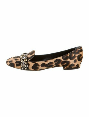 Louis Vuitton Ponyhair Animal Print Loafers Brown