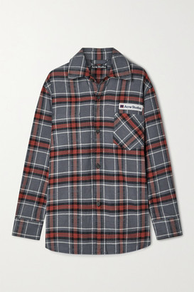 Acne Studios Oversized Appliqued Checked Cotton-flannel Shirt - Gray
