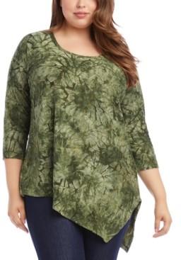 Karen Kane Plus Size Asymmetrical-Hem Burnout Top