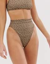 Asos Design DESIGN recycled skinny bind high leg high waist bikini bottom in tonal graphic print