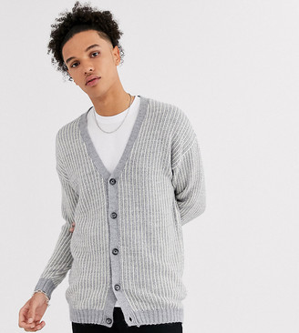 Asos DESIGN Tall oversized ribbed cardigan with tuck stitch in gray