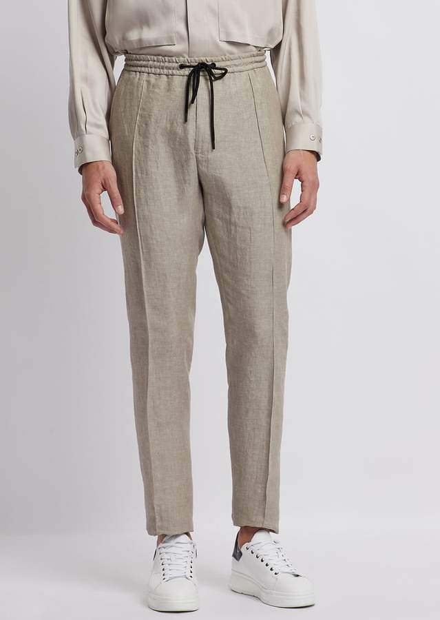 Emporio Armani Pants In Ultralight Stretch Cotton With Stretch Waist