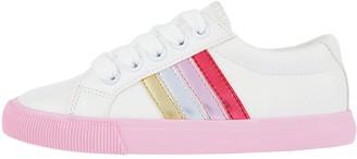 Monsoon Girls Maci Pink Stripe Trainers - Ivory