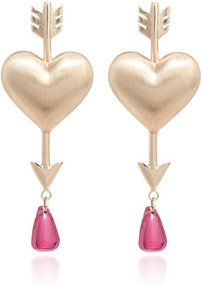 Rachel Quinn Through The Heart 14K Gold And Ruby Earrings