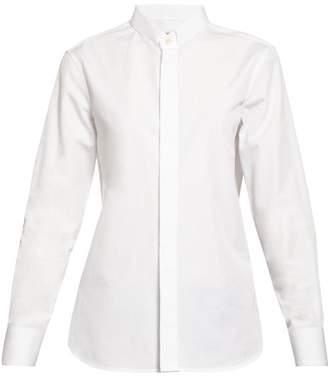 Saint Laurent Curved-hem Poplin Shirt - Womens - White