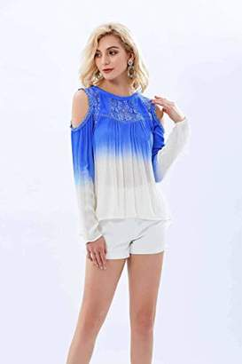 UP Ultrapink Juniors Cold Shoulder Ombre Blouse Crochet Lace Inserts