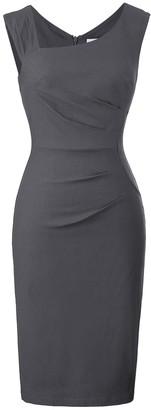 Belle Poque Slim Fit Office Pencil Dress for Women Sleeveless Dark Green Size L BP302-2