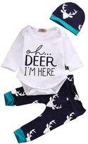 Hotone Newest Newborn Baby Kids Boys Girls Deer T-shirt Tops+Pants Outfits Sets (12-18 Months, White&Dark Blue)