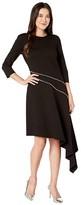 Vince Camuto Ponte Asymmetrical Hem Dress w/ Silver Zipper Trim (Rich Black) Women's Dress