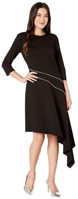 Vince Camuto Ponte Asymmetrical Hem Dress w/ Silver Zipper Trim (Rich Black) Women's Dress
