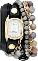 La Mer Women's LMMULTI2040 Black Positano Italian Stones Analog Display Quartz Black Watch
