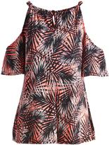 Glam Coral & Black Palms Keyhole-Tie Cutout Tunic