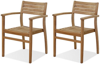 International Home Miami Set of 4 Coventry Teak Outdoor Stack Chairs frame, light brown; hardware, gray