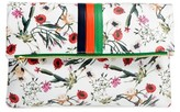 Clare Vivier Floral Leather Foldover Clutch - White