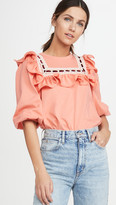 Jersey T-Shirt With Lace Trim & Ruffle