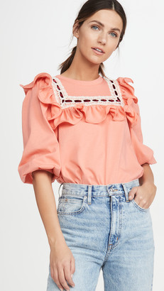 Marc Jacobs Jersey T-Shirt With Lace Trim & Ruffle